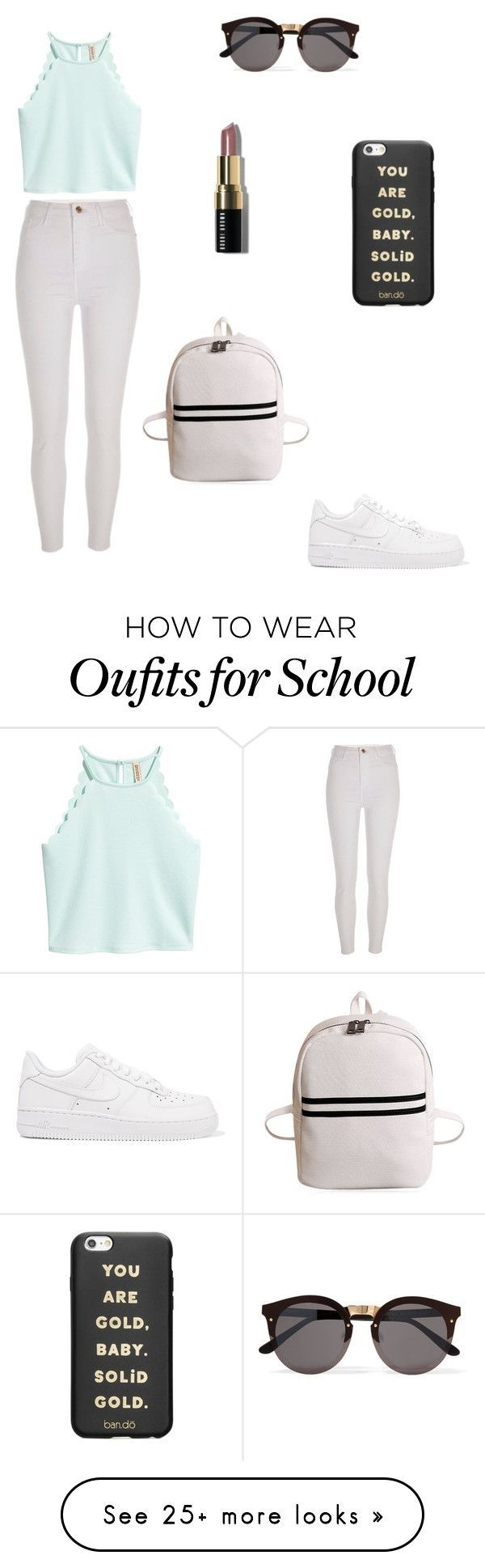 """School"" by lylou-waxin on Polyvore featuring River Island, NIKE, ban.do, Bobbi Brown Cosmetics and Illesteva"