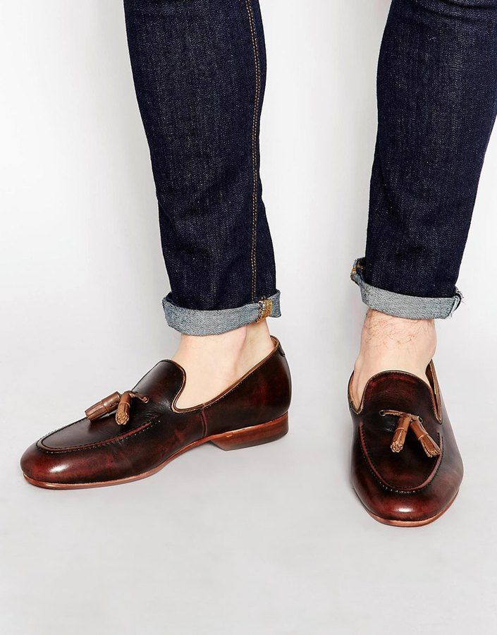 $154, Dark Brown Leather Tassel Loafers: House Of Hounds Leather Tassel Loafer. Sold by Asos. Click for more info: http://lookastic.com/men/shop_items/238131/redirect