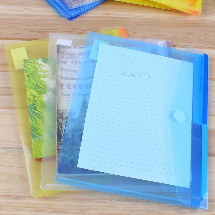 3 Pcs Transparent Plastic Folder Magic Button Document Bag A4 File Cover Business And School Filing Products Deli 5504