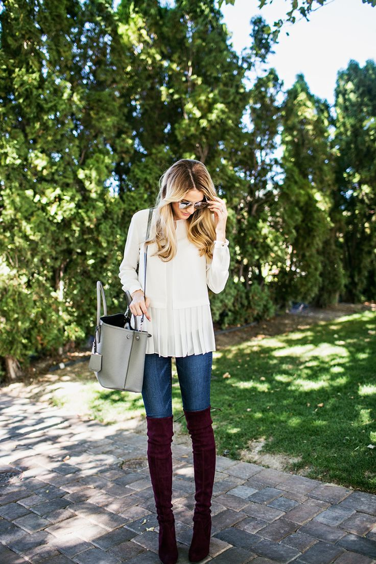 pretty and polished. maroon over the knee boots
