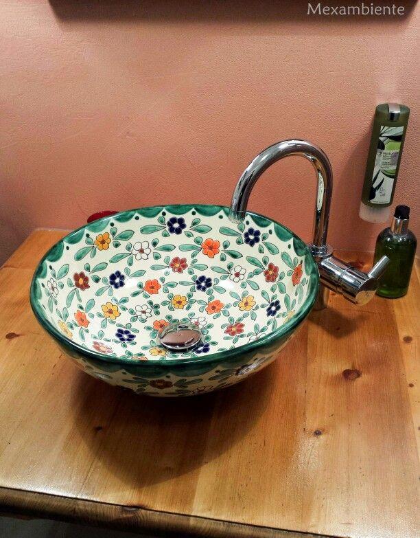 Farbenfrohes Waschbecken Aus Mexiko Mit Floralem Muster, Bunte Waschschale  Von Mexambiente. #badezimmer #. Badezimmer MediterranWaschtisch ...