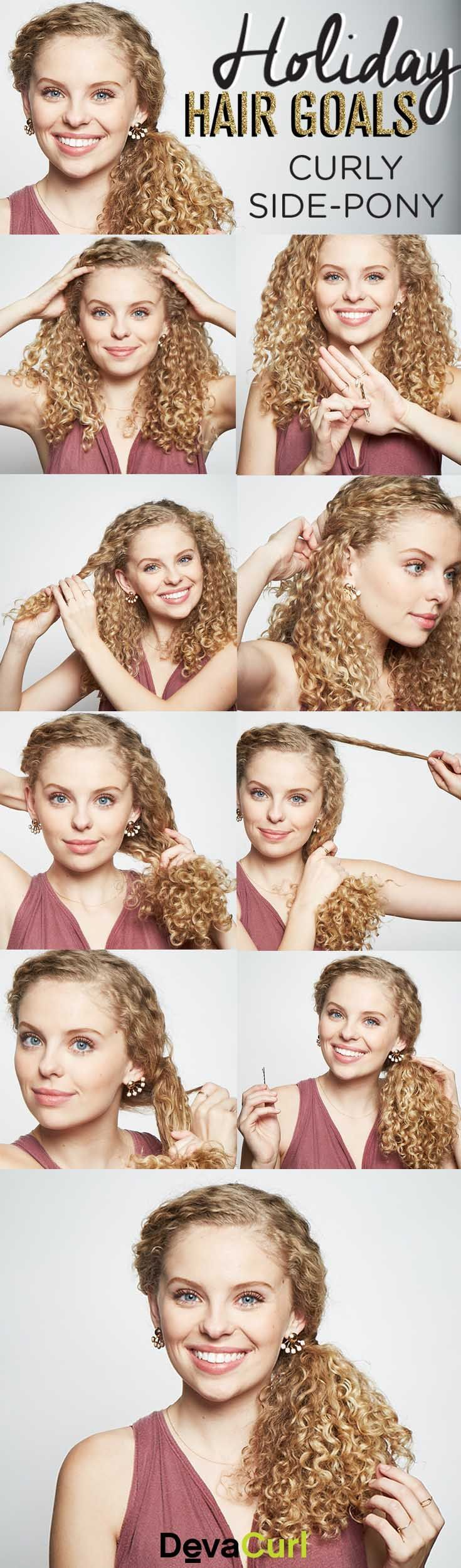 Perfect for a LOT of curly hair, this delicate side-pony dresses up any outfit. #MessyHairstylesCurly
