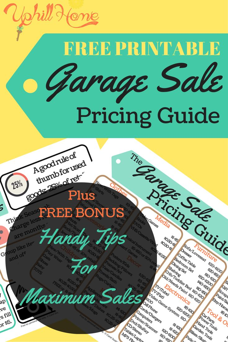Free Garage Sale Pricing Guide