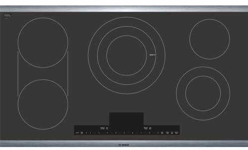 Bosch NETP668SUC 36 Inch Electric Cooktop with 5 Heating Elements, 3 Zone Heating, Element Bridge Element, AutoChef, PreciseSelect, PowerStart, CountDown Timer, Keep Warm, Heat Indicator, Child Lock and ADA Compliant