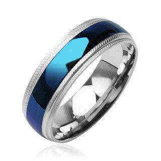 Blue Diamond - Striking Bright Blue Stainless Steel Textured Edges Ring