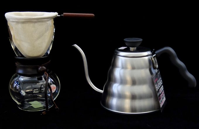 Hario Buono kettle and Hario wood/glass Filter brewer