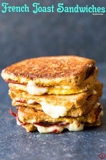 French Toast Sandwiches With Large Eggs, Milk, Salt, Sandwich Bread, Butter, Bacon, Fresh Mozzarella