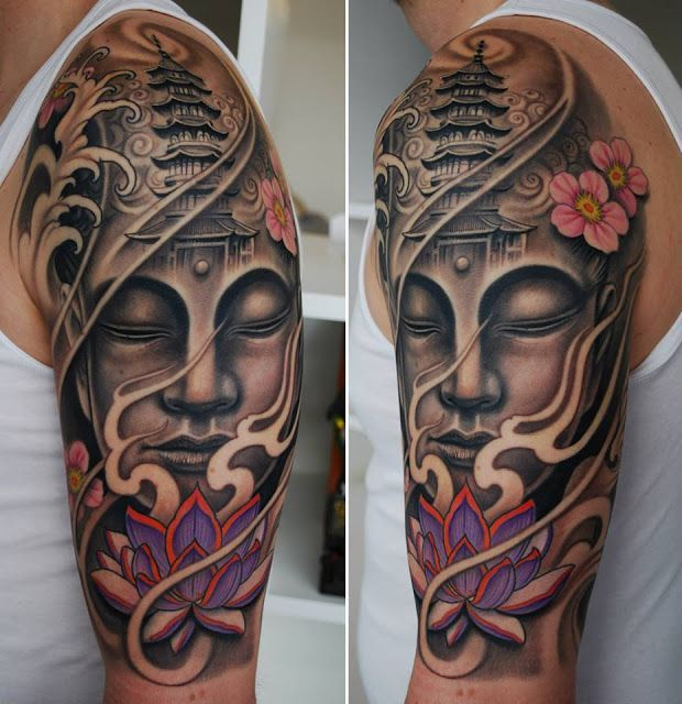 Buddha And Pagoda Sleeve Tattoos