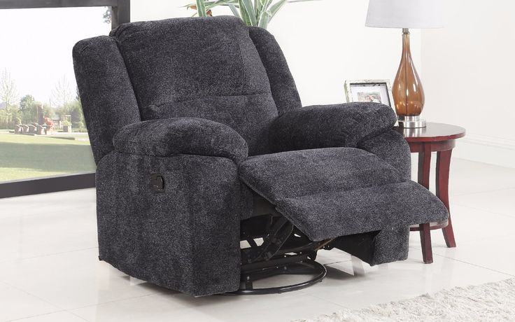 Asturias Traditional Classic Microfiber Rocker and Swivel Recliner Chair Dark Grey Lifestyle
