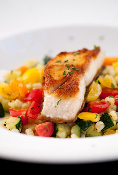pan-seared black cod with summer vegetables recipe | use real butter