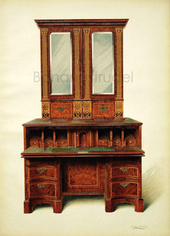 1905 Large Vintage Print / Antique Chromolithograph of English Furniture. Walnut-Inlaid Writing Cabinet