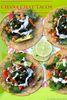 Chana Chat Tacos – Taco Desi-fied (aka Indianized) – Tacos with Indian Style Garbanzo beans, chutneys and a yogurt dressing. Vegetarian