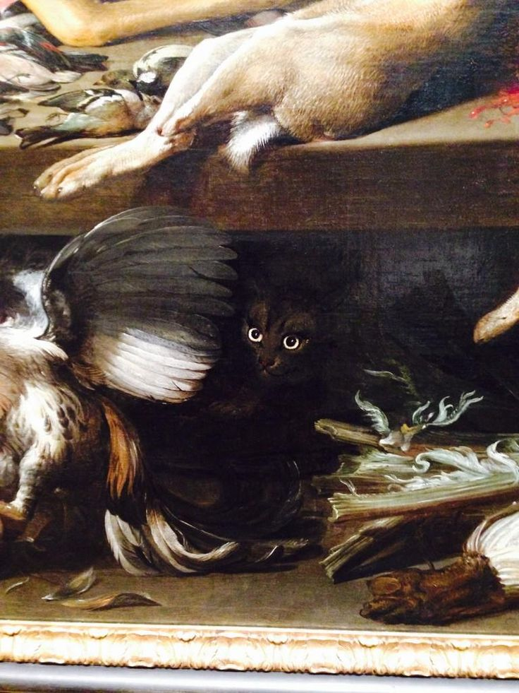 Frans Snyders (Bélgica, 1579-1657). Black cat.  Still life with dead game, 1614.: