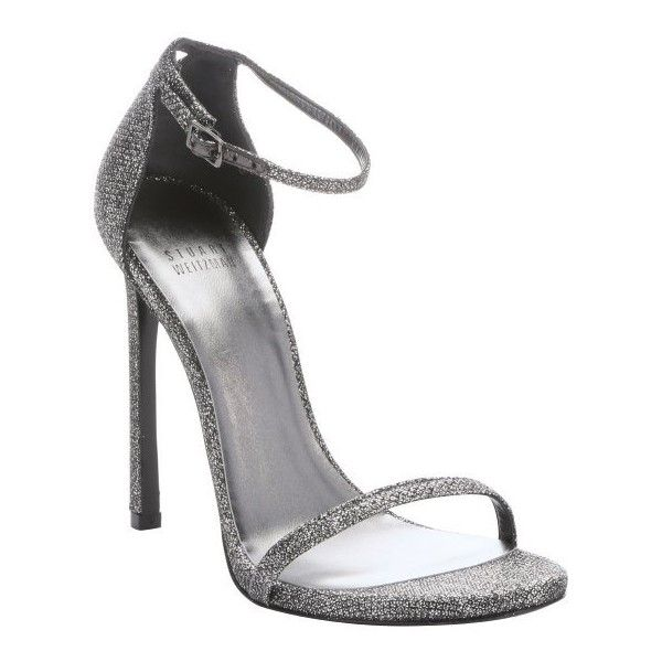 Stuart Weitzman Pewter glitter lamé 'Nudist' stiletto sandals ($340) ❤ liked on Polyvore featuring shoes, sandals, heels, chaussure, pewter, strappy heel sandals, strappy high heel sandals, high heel sandals, high heel shoes and ankle strap shoes