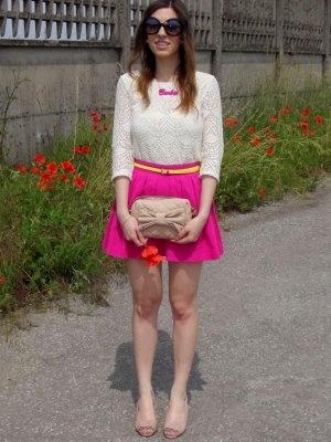 TheSparklingCinnamon Outfit  skirt pink neon fluo fushia barbie fifties  Primavera 2012. Combinar Camisa-Blusa Blanca H