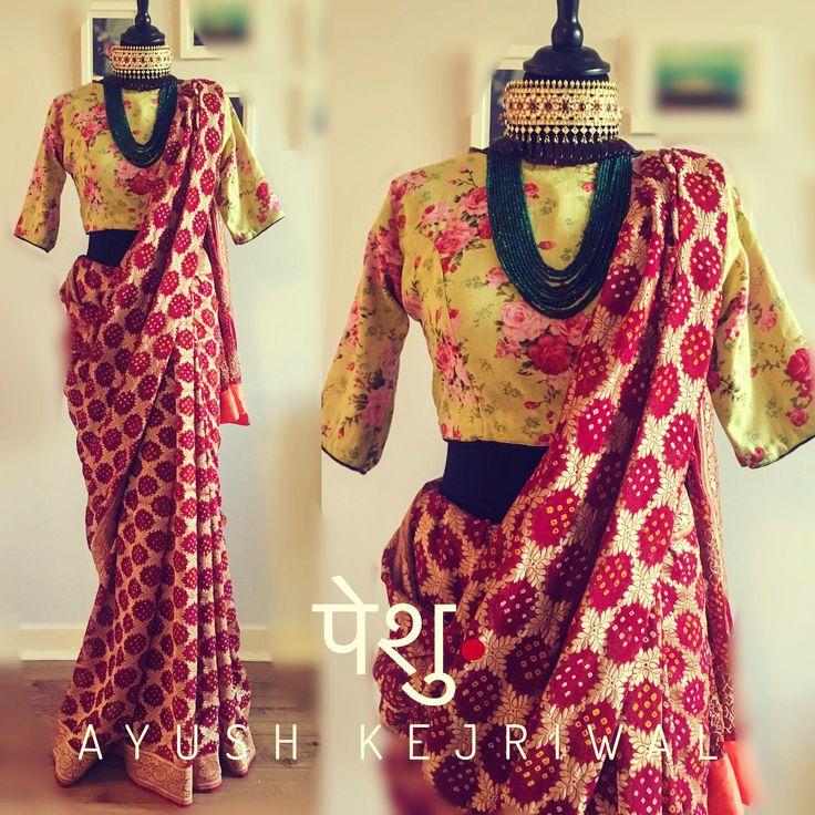 Benarsi Bandhani Saree by Ayush Kejriwal For purchases email me at designerayushkejriwal@hotmail.com or what's app me on 00447840384707 We ship WORLDWIDE. Instagram - designerayushkejriwal