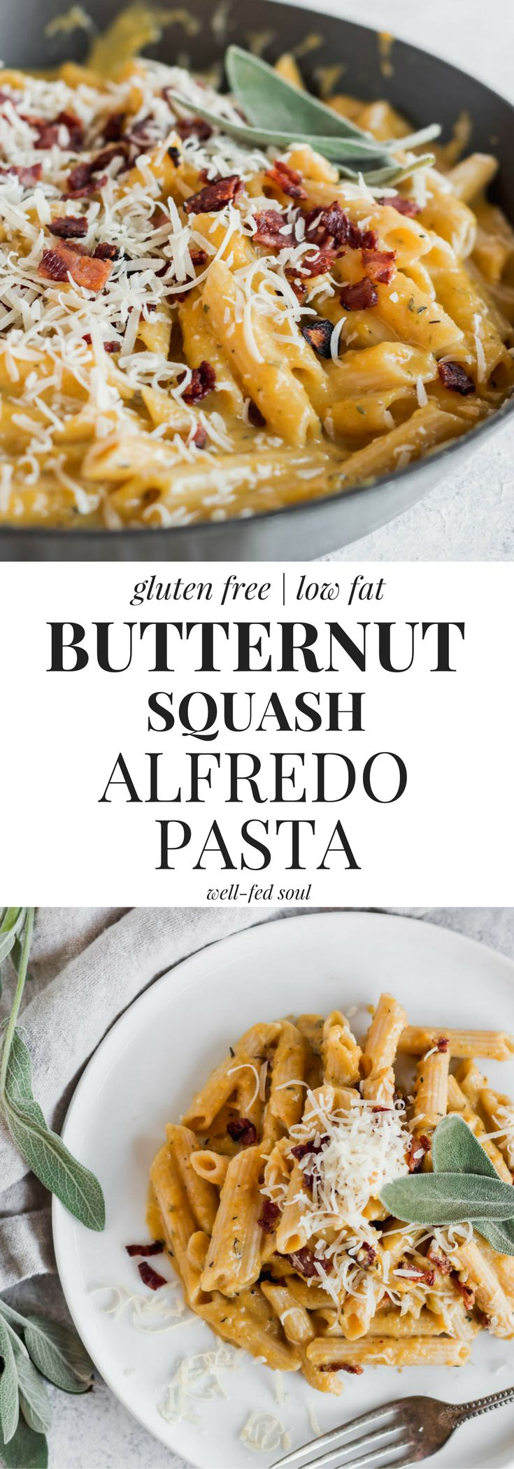 Healthy Butternut Squash Alfredo Pasta is ready in just 30 minutes! A lighter twist on the classic, this sauce is made from creamy, dreamy butternut squash for a serving of vegetables, too! #pasta #butternutsquash #comfortfood #wellfedsoul