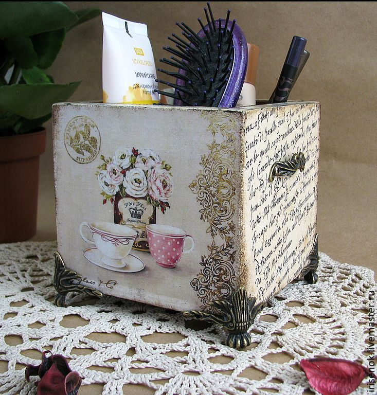 Купить La Maison, подставка - цветы, ретро, винтаж, Декупаж, карандашница, подставка для расчёсок