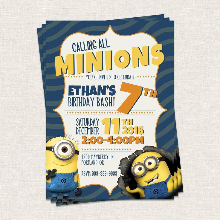 Minion Birthday Invitation // Kid Birthday Invitation //  Minion's Birthday - Printable Template by jdawsDesign on Etsy https://www.etsy.com/listing/478860518/minion-birthday-invitation-kid-birthday
