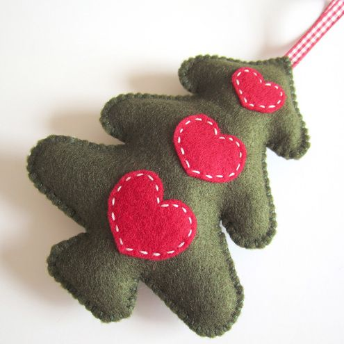 Sew different shapes out of felt for cute hand made tree decorations.