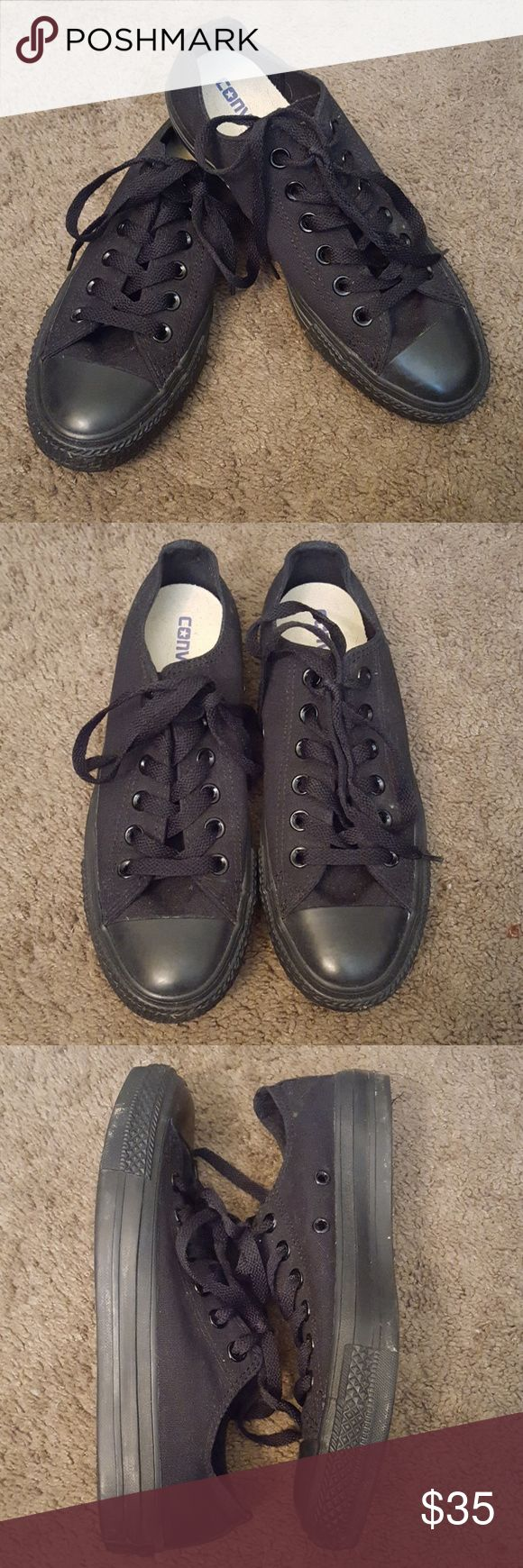 EUC Converse All Black Low Top Shoes Size 7 EUC Converse All Star All Black Low Top Shoes Size 7. EUC condition, a little dusty from being in my closet. Men's size 5, Women's size 7. Check out my other Converses for sale! Converse Shoes Sneakers