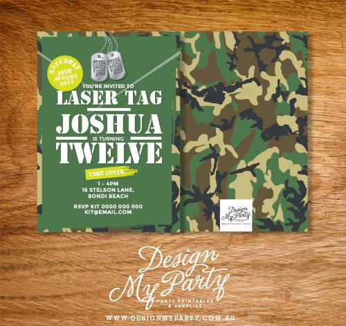 Army Camouflage Laser Tag Birthday Invitation by DesignMyPartyShop