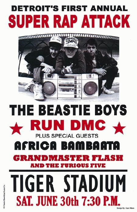 Concert poster for The Beastie Boys with Run DMC, and Grandmaster Flash at Tiger Stadium in Detroit, MI.   www.groovedepartment.blogspot.com