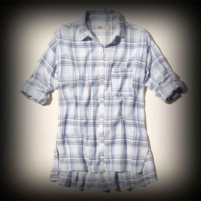 Hollister レディース シャツ  ホリスター Arrow Point Boyfriend Shirt シャツ ★アバクロの姉妹ブランドホリスターはアメリカ西海岸のサーフスタイルをベースにしたカジュアルなブランド。当店では海外限定アイテムも取り扱い中! ★チェック柄が、カジュアルで着回しもしやすいです。