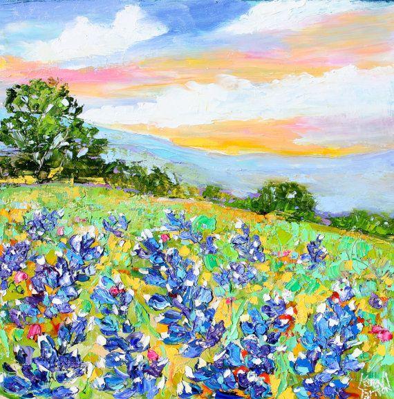 Original Oil Painting Texas Bluebonnet Sunrise by Karensfineart