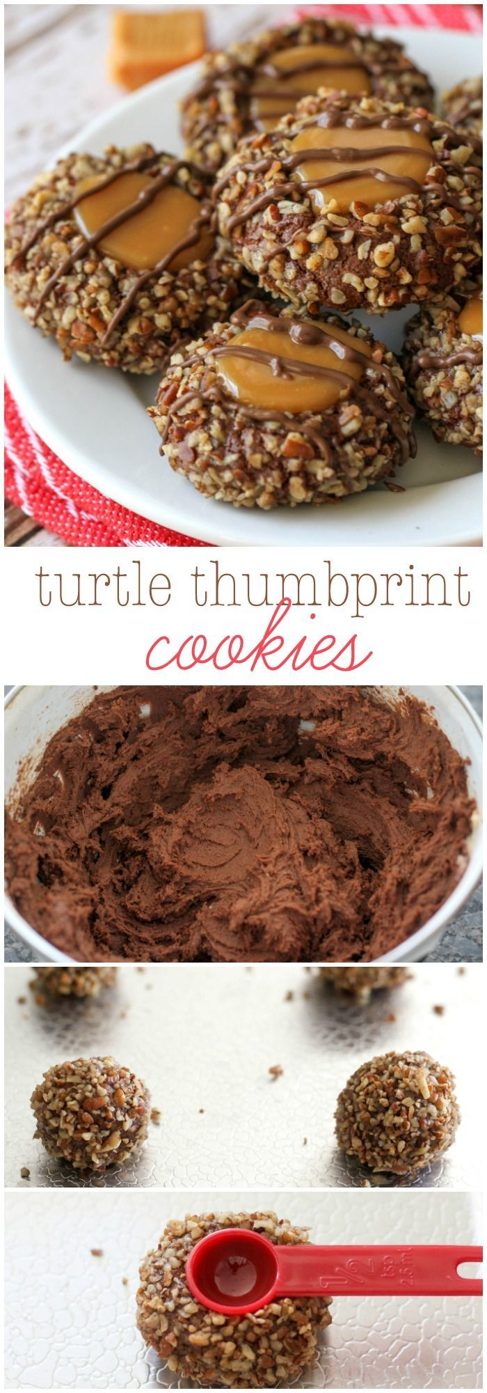 Delicious Turtle Thumbprint Cookies - a chocolate, caramel and nut cookie recipe everyone will love!!