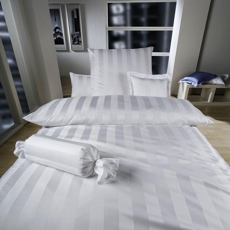 Белое постельное белье в полоску