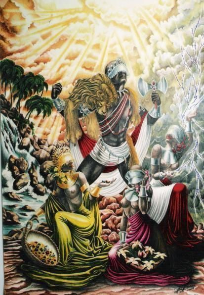 """honeyedexcrements: """" Shango by Micha F. Lindemans The Yoruba god/Divinity of thunder. Many of the Orisha's in actuality represent ancient ansestors to the Yoruba people and thier diaspora.  Shango here is portrayed with a double axe on his head (the..."""