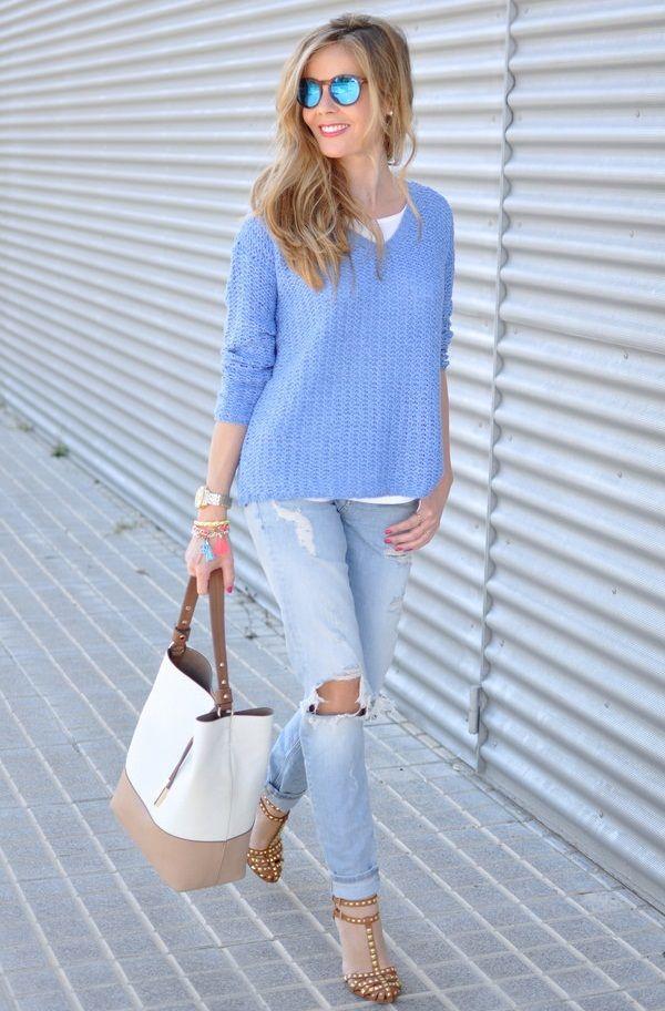 Модные цвета года по версии Pantone: нежно-голубой, нежно-розовый, вязаные тренды 2016, вязаная мода 2016, модные вязаные вещи 2016, стильный вязаный джемпер кардиган (фото 13)