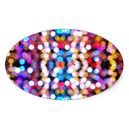 Colourful Bokeh Blurred Light Abstract Pattern Oval Sticker - christmas stickers xmas eve custom holiday merry christmas