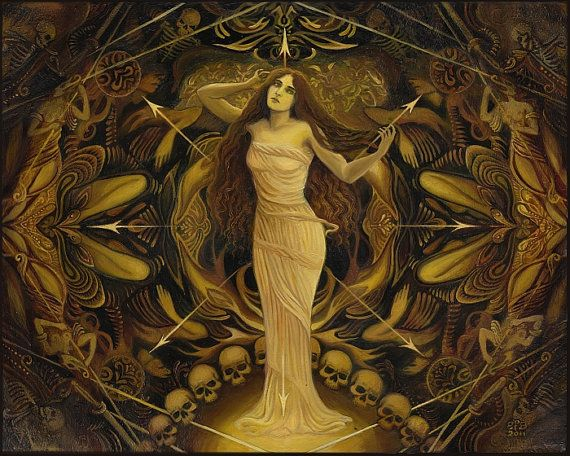Eris ~ Painting by Emily Balivet    In Greek mythology, Eris (also known as Discordia) was the goddess of chaos and discord and the personification of strife. With the ability to cause turmoil with the most minor of efforts, her actions were the source of the rivalry which led to the Trojan war.