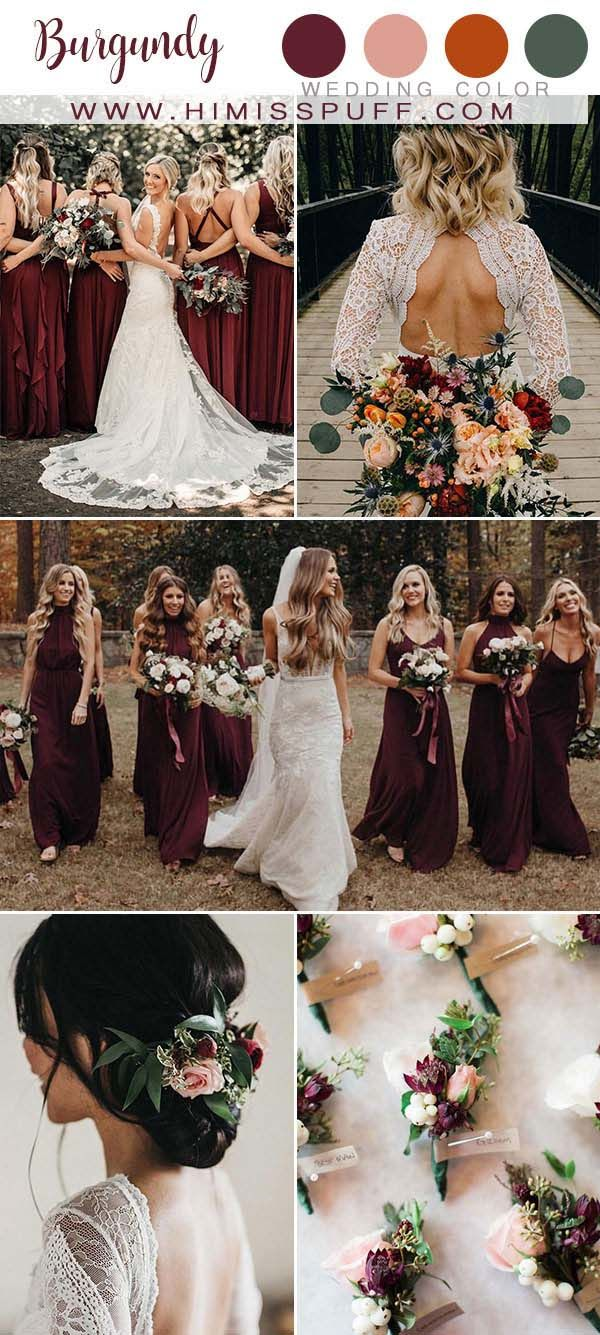 Top 10 Fall Wedding Color Ideas 2020 Bright Wedding Colors Burgundy Wedding Colors Burgundy Bridesmaid Dresses,Summer Black Dress Wedding Guest Outfit