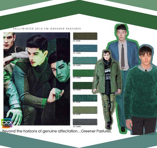 Fall Winter 2014-15, contemporary men's color trend report, Greener Pastures full color board