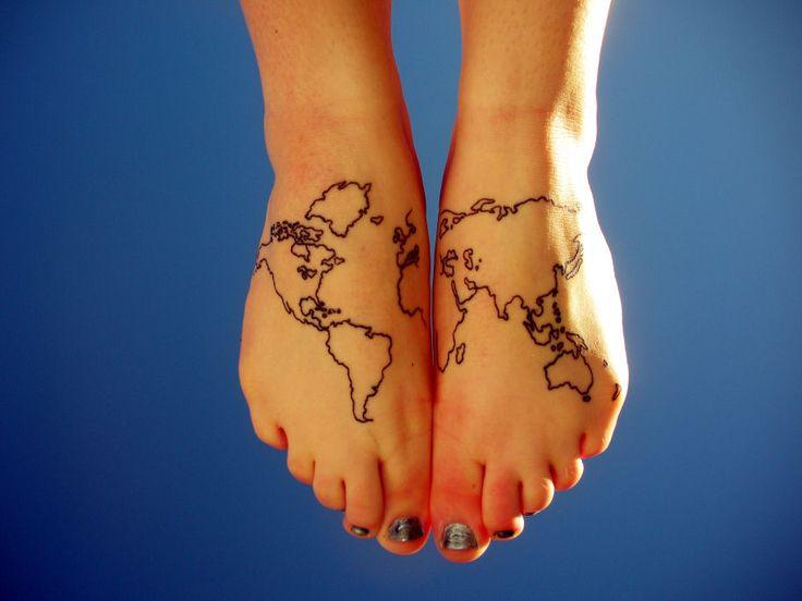 Old Map Feet Tattoo