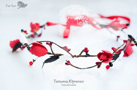 Red Flower Wreath Bridal Hair Accessories Red Wedding by FORvHER