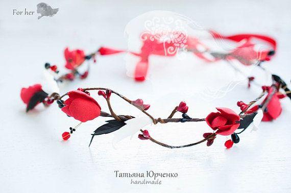 Red Flower Wreath Bridal Hair Accessories Red Wedding by FORvHER