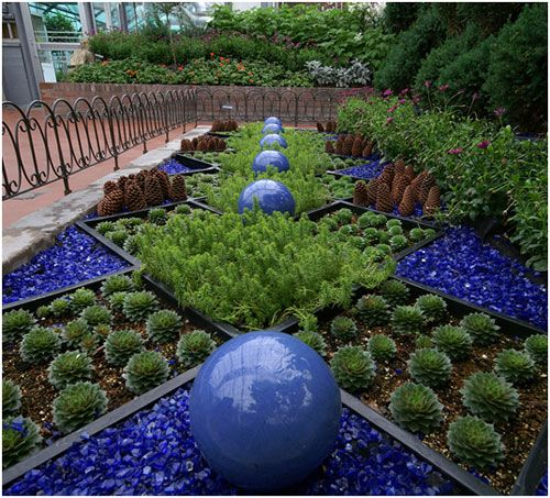 Pine Cones And Recycled Blue Glass Used As Garden Art.