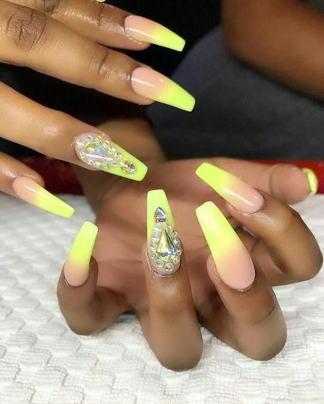 The World Champion In Beauty Of Yellow Nail Designs 2018 Between White And Black Women Coffin Nails Designs Yellow Nails Yellow Nails Design