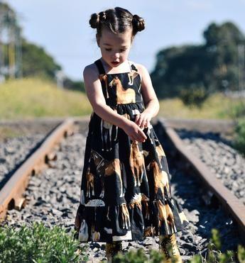 black horse print maxi dress girls kids childrens horse fabric 2017