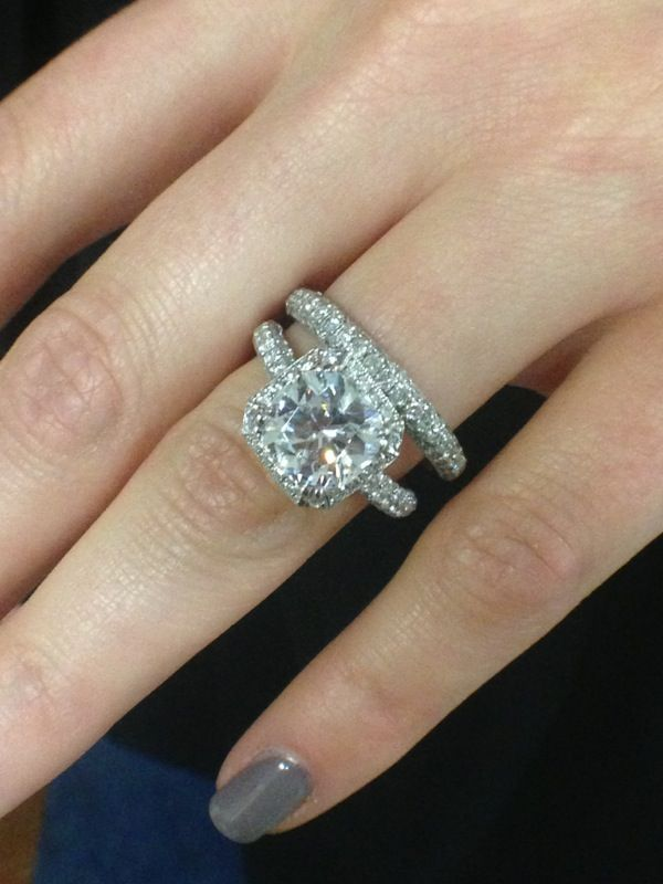3ct. Cushion Cut Engagement Ring in 3ct. Vintage Halo Setting & 2.5ct. Round Diamond Eternity band