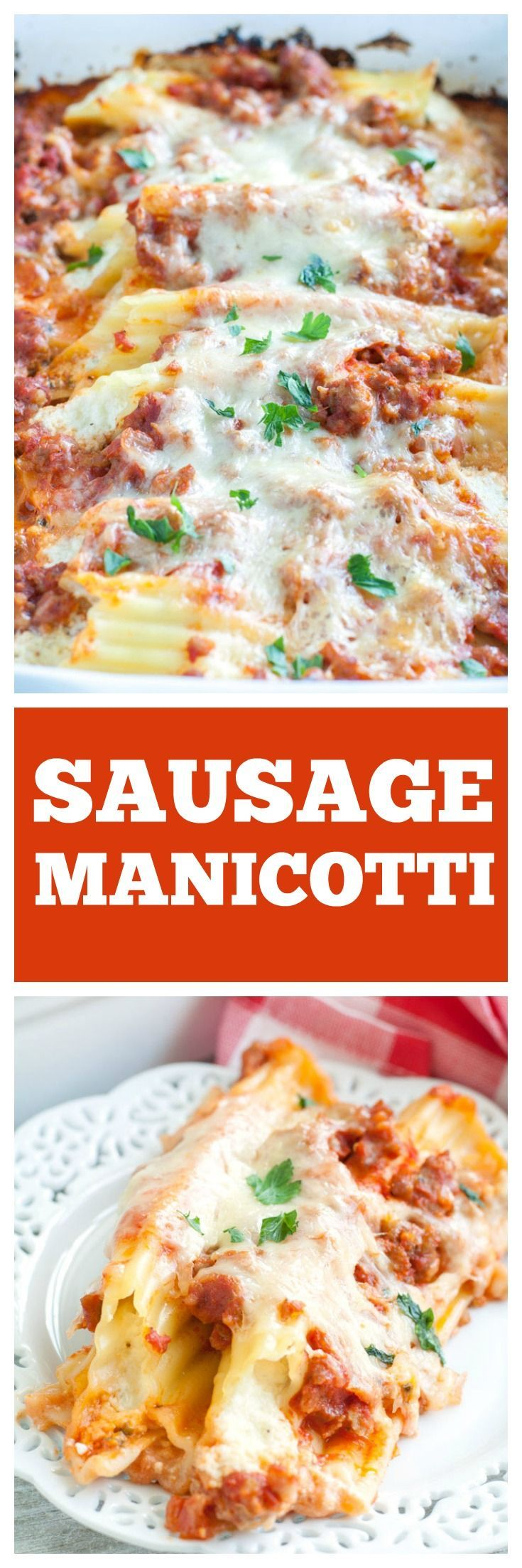 SAUSAGE MANICOTTI IS THE BEST MANICOTTI RECIPE AROUND! PASTA FILLED WITH 3 CHEESES AND TOPPED WITH AN EASY ITALIAN SAUSAGE SAUCE.