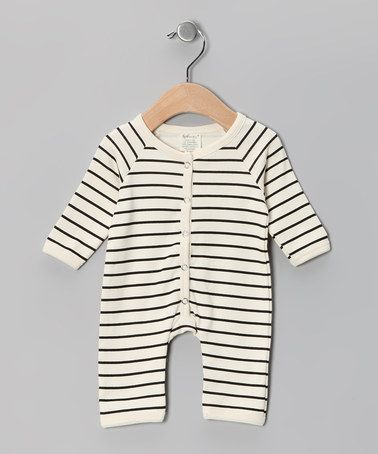 White & Black Stripe Organic Playsuit by SoftBaby