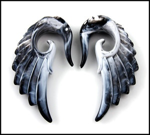 Pair Acrylic Marble look Angel Wing Design Ear Taper Plugs Gauges (PICK SIZE)