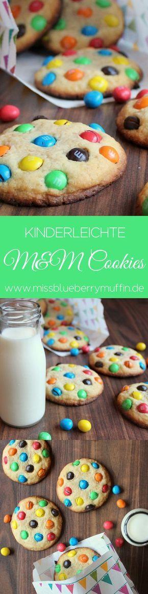 Kinderleichte M&M Cookies! So bunt und lecker! Funktioniert auch super mit Smarties.