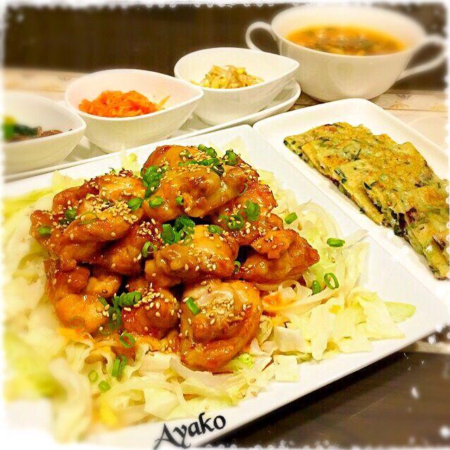 今日は、韓国料理です(*^^*) - 164件のもぐもぐ - チーズブルダック(韓国風辛口チキン)、海鮮チヂミ、3種のナムル、韓国チゲスープ by ayako1015