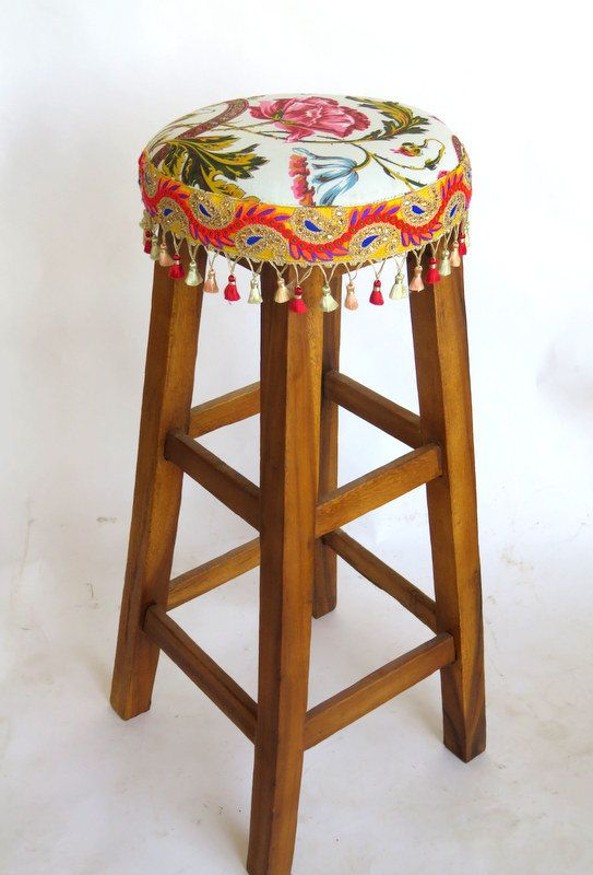 design bar stool -  vintage chair -  wood stool - Upholstered stool - white and orange stool - one of a kind by MonCheriAccessories on Etsy